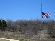 Half Staff Posters - DFW national Cemetery flag on the Hill Poster by Amy Hosp
