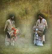 Drummers Digital Art Metal Prints - Dhol Metal Print by Howard Johnson