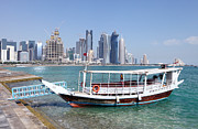 Mideast Framed Prints - Dhow and skyline 2013 Framed Print by Paul Cowan