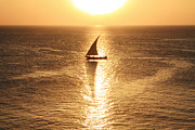 Fishing Boat Sunset Posters - Dhow Boat Sunset  Poster by Aidan Moran