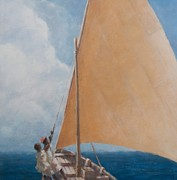 Sailboat Ocean Paintings - Dhow Kilifi by Lincoln Seligman