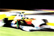 Car Pastels Framed Prints - Di Resta Framed Print by Lyle Brown