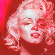 Faces Painting Prints - Dia de los Monroe Print by Christian Chapman Art
