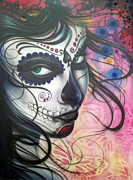 Make-up Girl Framed Prints - Dia De Los Muertos Chica Framed Print by Mike Royal