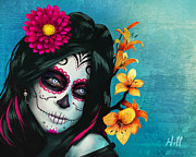 Kevin Hill Framed Prints - Dia de los Muertos - Margarita - 10th Anniversary Edition Framed Print by Kevin Hill