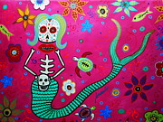 Day Of The Dead Paintings - Dia De Los Muertos Mermaid by Pristine Cartera Turkus