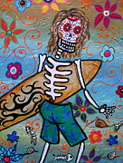 Surfing Paintings - Dia De Los Muertos Surfer by Pristine Cartera Turkus