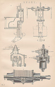 Mechanics Drawings Framed Prints - Diagram of a Brake Framed Print by Anon
