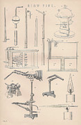 Mechanics Drawings Framed Prints - Diagrams and parts of a Blow Pipe Framed Print by Anon