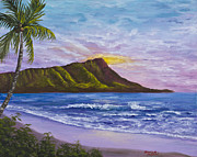 Tropical Sunset Painting Framed Prints - Diamond Head Framed Print by Darice Machel McGuire