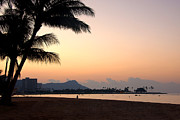 Surf Silhouette Prints - Diamond Head Sunrise - Honolulu Hawaii Print by Brian Harig
