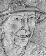 Diamond Drawings Prints - Diamond Jubilee Queen  Print by Joan-Violet Stretch