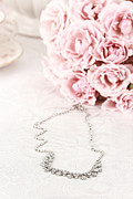 Silver Necklace Art - Diamond Necklace and Pink Roses by Stephanie Frey