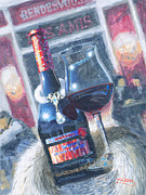 Wine Glass Paintings - Diamonds and Furs by Will Enns