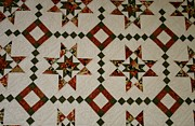 Homemade Quilts Prints - Diamonds and Stars Quilt Print by Linda Albonico
