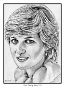 Star Drawings Framed Prints - Diana - Princess of Wales in 1981 Framed Print by J McCombie