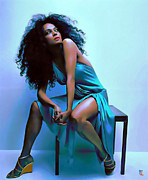 Portrait Poster Digital Art Prints - Diana Ross Print by Byron Fli Walker