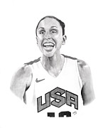 Olympian Drawings Framed Prints - Diana Taurasi USA Framed Print by Devin Millington