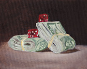 Benjamin Franklin Painting Posters - Dice n Bills Poster by Nicko Gutierrez