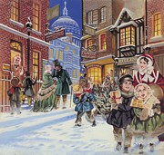 Smiling Painting Framed Prints - Dickensian Christmas Scene Framed Print by Angus McBride