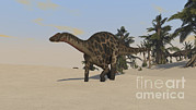 Three Dimensional Posters - Dicraeosaurus Walking Across A Barren Poster by Kostyantyn Ivanyshen