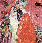 Woman In A Dress Prints - Die Freundinnen Print by Gustive Klimt