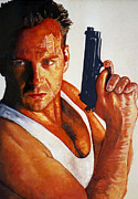 Bruce Painting Originals - Die Hard by Michael Haslam