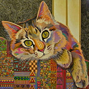 Feline Cat Art Paintings - Diego by Bob Coonts