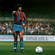 Pele Paintings - Diego Maradona by Paul  Meijering