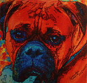 Boxer Mixed Media Originals - Diesel in Red by Judith Rothenstein-Putzer