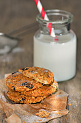 Healthy Eating Pyrography - Dietetic Biscuits And Milk by Iordache Magdalena