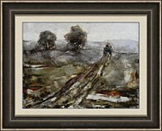 Winter Scenes Rural Scenes Framed Prints - Difficult journey DJ2 Framed Print by Pemaro