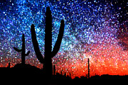 Starry Sky Framed Prints - Digital Art Abstract - Desert Cacti and the Starry Night Sky Framed Print by Natalie Kinnear