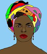 Kate Farrant - Digital Art African Woman in Head-dress