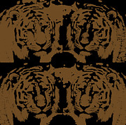Predaceous Prints - Digital art four tigers Print by Tommy Hammarsten