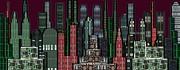 Digital Circuit Board Cityscape 5b - Wine Sky Print by Luis Fournier