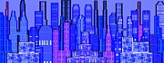 Digital Circuit Board Cityscape 5c - Blue Haze Print by Luis Fournier