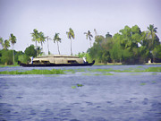 India Prints - Digital Oil Painting - A houseboat on its quiet sojourn through the backwaters of Allep Print by Ashish Agarwal