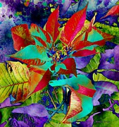 Golds Posters - Digital Poinsettia Poster by Jamie Frier