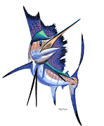 Black Marlin Framed Prints - Digital sail Framed Print by Carey Chen