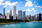 Lake Michigan Digital Art Metal Prints - Digitial Painting of Downtown Chicago Skyline Metal Print by Paul Velgos