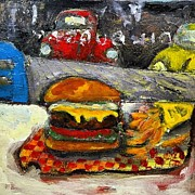 Hamburger Paintings - Dil Burger by Dilip Sheth