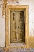 Medieval Entrance Prints - Dilapidated Green Door of Portugal Print by David Letts