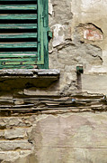 Italian Village Prints - Dilapidated Green Wood Window Shutter II Print by David Letts