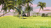 Three Dimensional Posters - Dilophosaurus Hunting In A Field Poster by Kostyantyn Ivanyshen