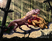 Food Chain Digital Art Posters - Dilophosaurus Wetherilli Eating Poster by Yuriy Priymak