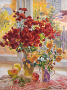Flowers Painting Originals - Dimas bouquet by Victoria Kharchenko