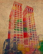 Building Mixed Media Metal Prints - Dime Building Iconic Buildings of Detroit Watercolor on Worn Canvas Series Number 1 Metal Print by Design Turnpike