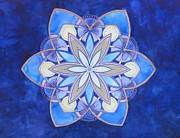 Light Blue Chakra Prints - Dimensional Voice Mandala Print by Holly Burger