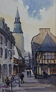 Townscapes Paintings - Dinan. Brittany by John Fuller